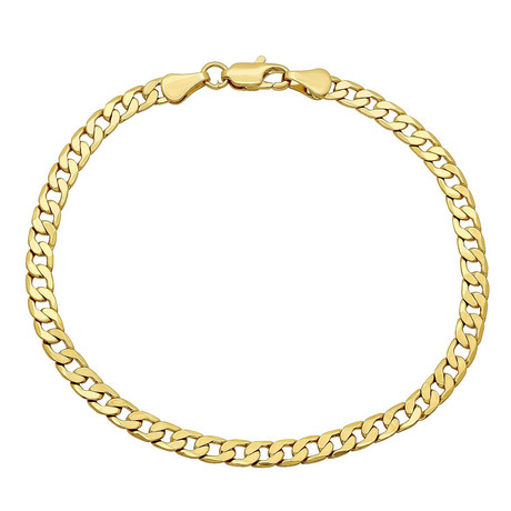 Semi-Solid 14K Gold Curb Chain Bracelet // 4mm // Yellow