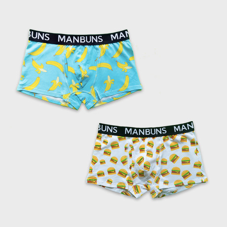 Gone Bananas + Cheesy Burgers // 2-Pack Boxer Trunks // Multicolor (Small)