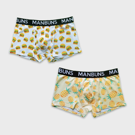 Cheesy Burgers + Pineapple Paradise // 2-Pack Boxer Trunks // Multicolor (Small)