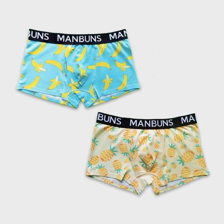 Gone Bananas + Pineapple Paradise // 2-Pack Boxer Trunks // Multicolor (Small)