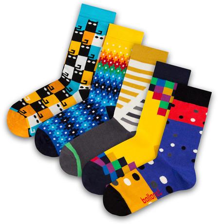 Unisex Socks // Meow Socks // 5 Pack (US: 6-9)
