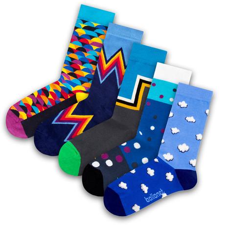 Unisex Socks // Blue Socks // 5 Pack (US: 6-9)