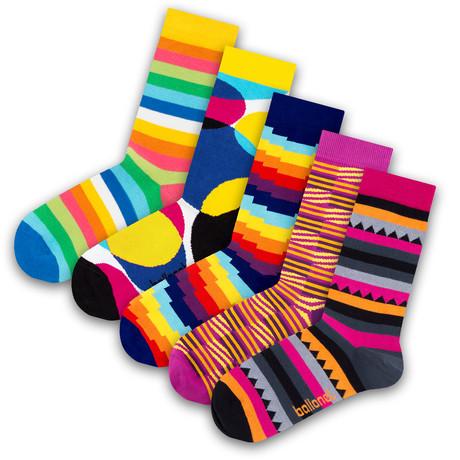 Men's Socks // Stripy Socks // 5 Pack (US: 6-9)