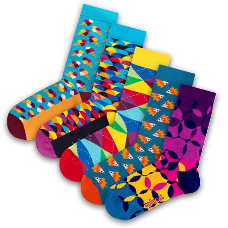 Unisex Socks // Sunset Socks // 5 Pack (US: 6-9)