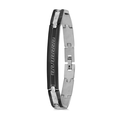 Aztec Bracelet // Silver + Black