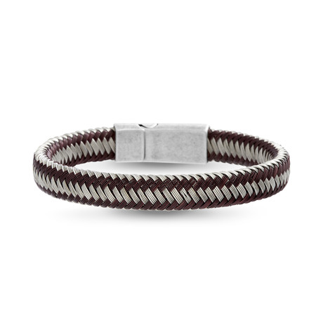 Steel Evolution // Weaved Cord Bracelet // Brown + Gray