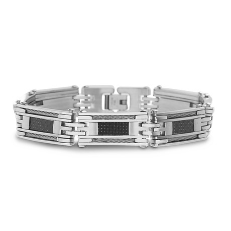Twisted Wire + Rectangle Bracelet // Silver + Black