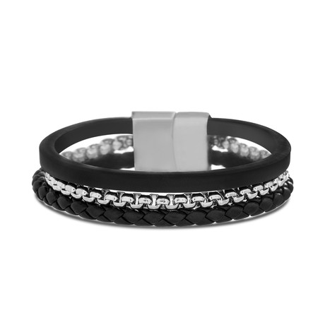 Steel Evolution // Braided Leather + Box Chain Triple Strand Bracelet // Black + Silver