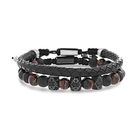 Willowbird // Rhinestone Beaded + Leather Bracelet // Black + Brown