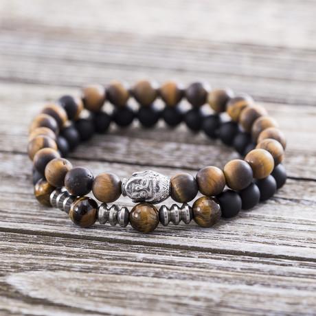 Buddha Head Beaded Bracelet // Brown + Black // Set of 2