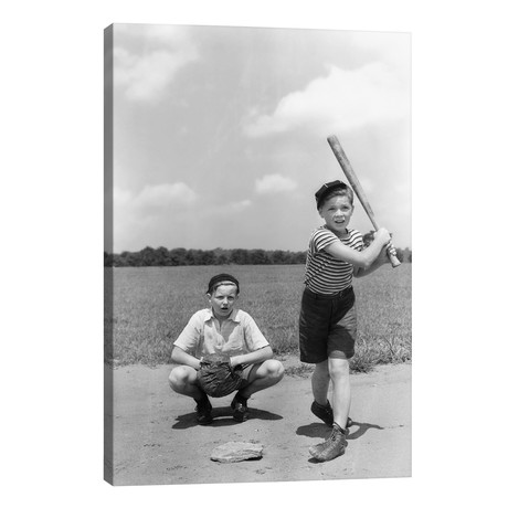 1930s Two Boys Batter And Catcher Playing Baseball // Vintage Images