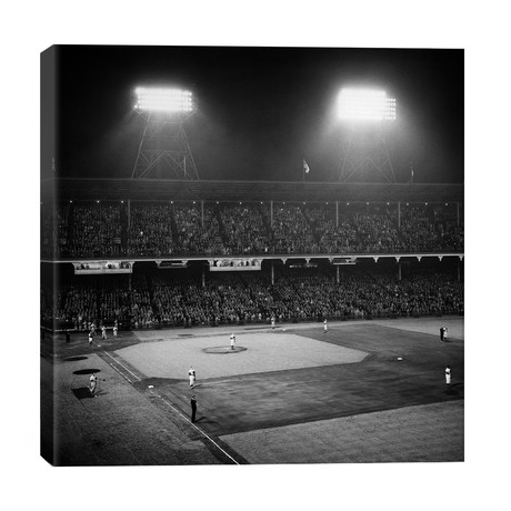 1947 Baseball Night Game Under The Lights Players Standing For National Anthem Ebbets Field Brooklyn New York USA // Vintage Images