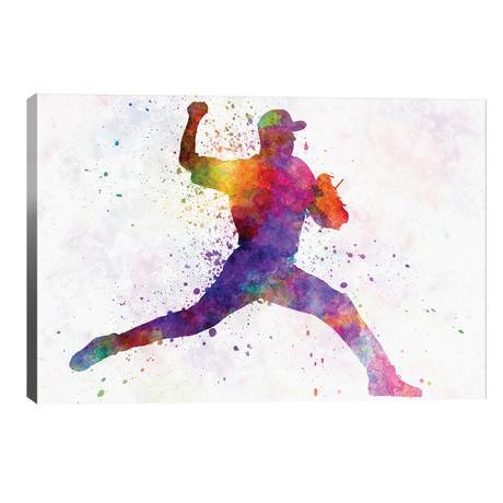 "Baseball Player Pitching I // Paul Rommer (40""W x 26""H x 1.5""D)"
