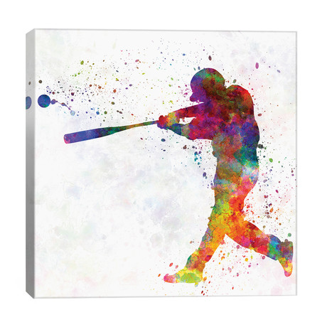 "Baseball Player Hitting A Ball II // Paul Rommer (26""W x 26""H x 1.5""D)"
