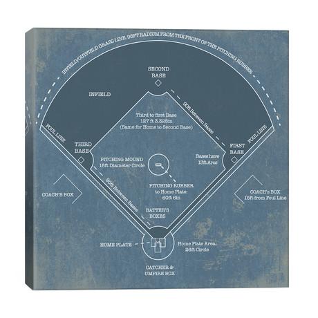 """Baseball Diamond Blueprint // Cutler West (26""""W x 26""""H x 1.5""""D)"""