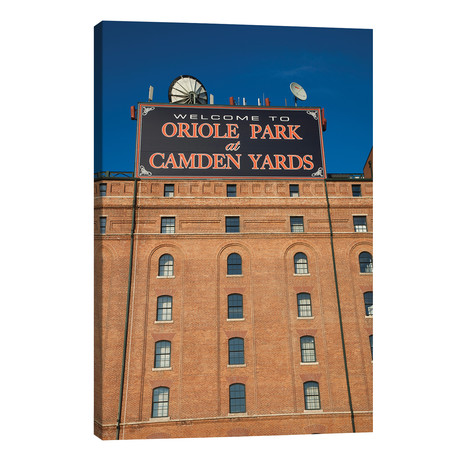 """Low angle view of a baseball park 2, Oriole Park at Camden Yards, Baltimore, Maryland, USA // Panoramic Images (26""""W x 40""""H x 1.5""""D)"""