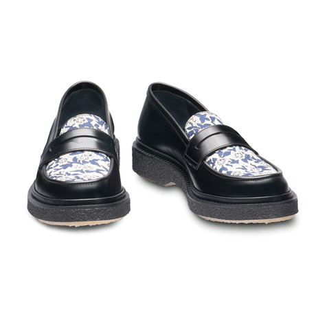 Nairo Penny Loafer // Black + Floral (Euro: 39)