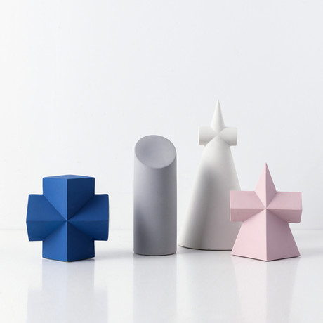 Geo Shapes Set // Blue Cross + Gray Cylinder + White Cone + Pink Pyramid