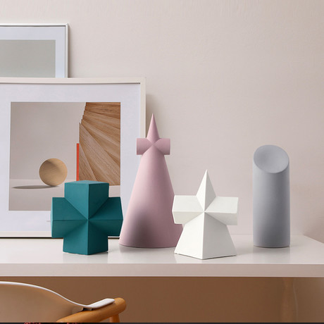 Geo Shapes Set // Green Cross + Pink Pyramid + White Pyramid + Gray Cylinder