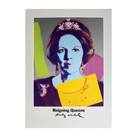 Queen Beatrix of the Netherlands // Andy Warhol //  from Reigning Queens // 1986 Offset Lithograph