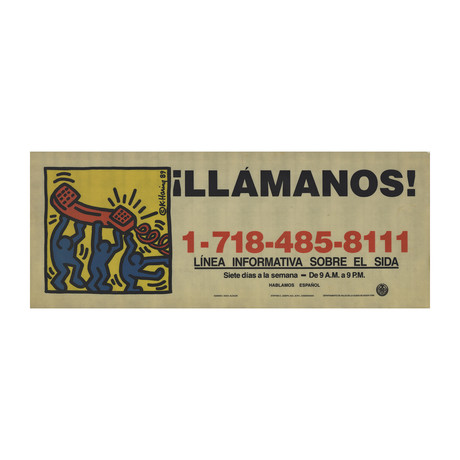 "Call Us! // Keith Haring // 1989 Serigraph 11"" x 28"""