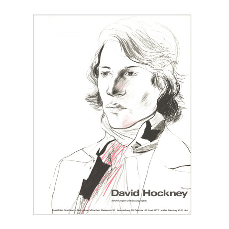 Drawings and Prints (Peter with Scarf) // David Hockney // 1977 Offset Lithograph