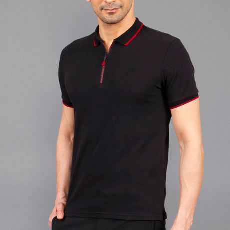 Zip Polo Shirt // Black (S)