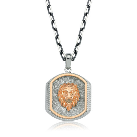 "Lion Necklace // White + Rose Gold (22"")"