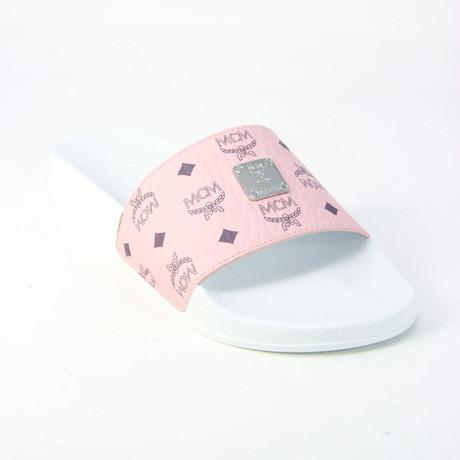 MCM // Women's Logo Pool Slides // Light Pink (Euro: 35)