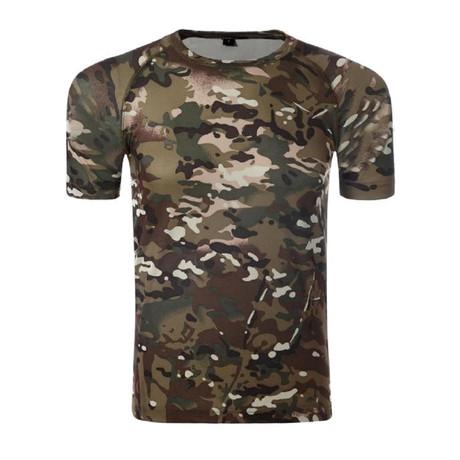 T-Shirt // Dark Khaki + Camouflage Print (XS)