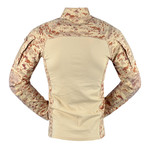 Long sleeve T-shirt // Light Brown + Camouflage Print (L)