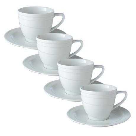 Porcelain Cup + Saucer // 4 Oz // Set of 4