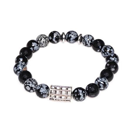 Dell Arte // Moon Stone + Dragon Agate Beaded Bracelet // Black + White