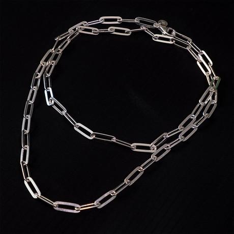 Dell Arte // Sterling Silver Paper Clip Necklace // Silver