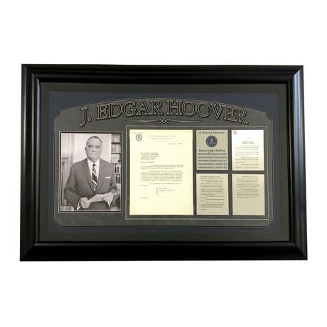 """J. Edgar Hoover // Signed """"Hippies & Communists"""" FBI Letter Collage"""