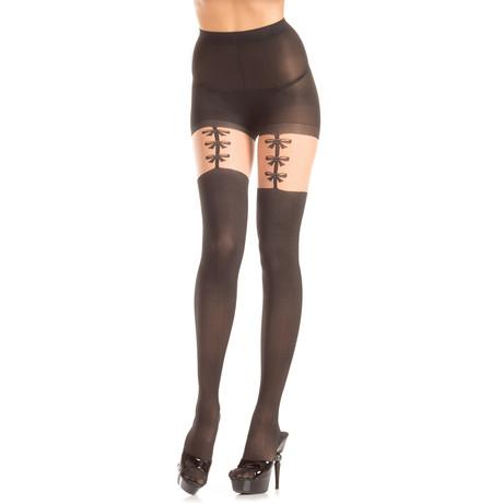 Bow GarterStrap Pantyhose // Black