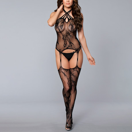 Let Me Upgrade You Body Stocking // Black (One Size)