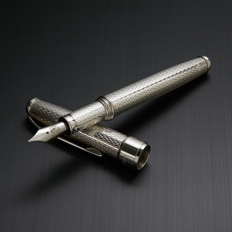 Solid 925 Silver Fountain Pen // Classic Barley Engraving (Fine Point Nib)