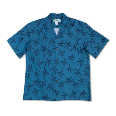 Palm Tree Button Up Shirts // Deep Blue (Small)