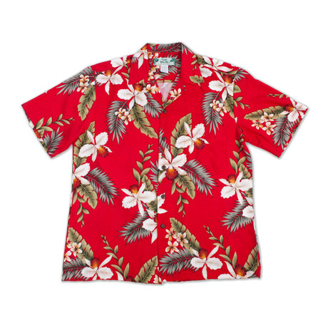 Hawaiian Orchid Button Up Shirts // Red (Small)