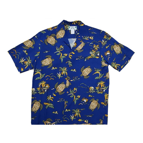 Turtles Button Up Shirts // Navy (Small)
