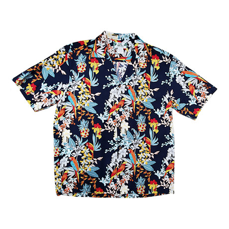 Parrots Button Up Shirts // Navy (Small)