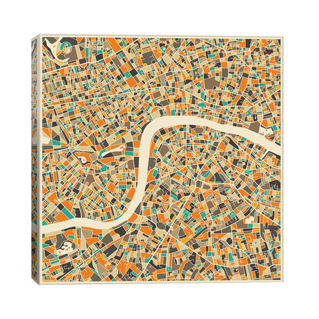 "Abstract City Map of London // Jazzberry Blue (26""W x 26""H x 1.5""D)"