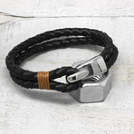 Polished Stainless Steel Hook Clasp Leather Bracelet // 11mm (Brown + Tan)