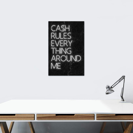 "Cash Rules // Ink & Drop (26""W x 40""H x 1.5""D)"