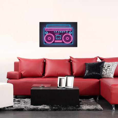 """Boombox Neon // Octavian Mielu (40""""W x 26""""H x 1.5""""D)"""