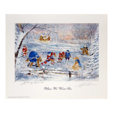 """Johnny Bower & Gerry Cheevers // Autographed """"When We Were Six"""" Lithograph"""