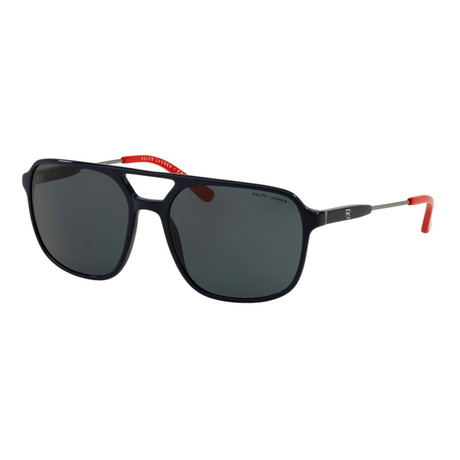 Ralph Lauren // Men's RL8170-556987 Sunglasses // Black + Gunmetal + Red