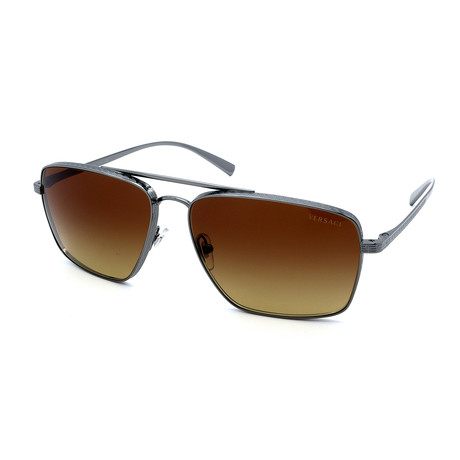 Versace // Men's GV2216-100113 Sunglasses // Gunmetal + Brown