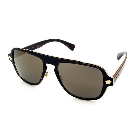 Versace // Men's GV2199-12524T Sunglasses // Havana Dark Gray + Gold Mirror